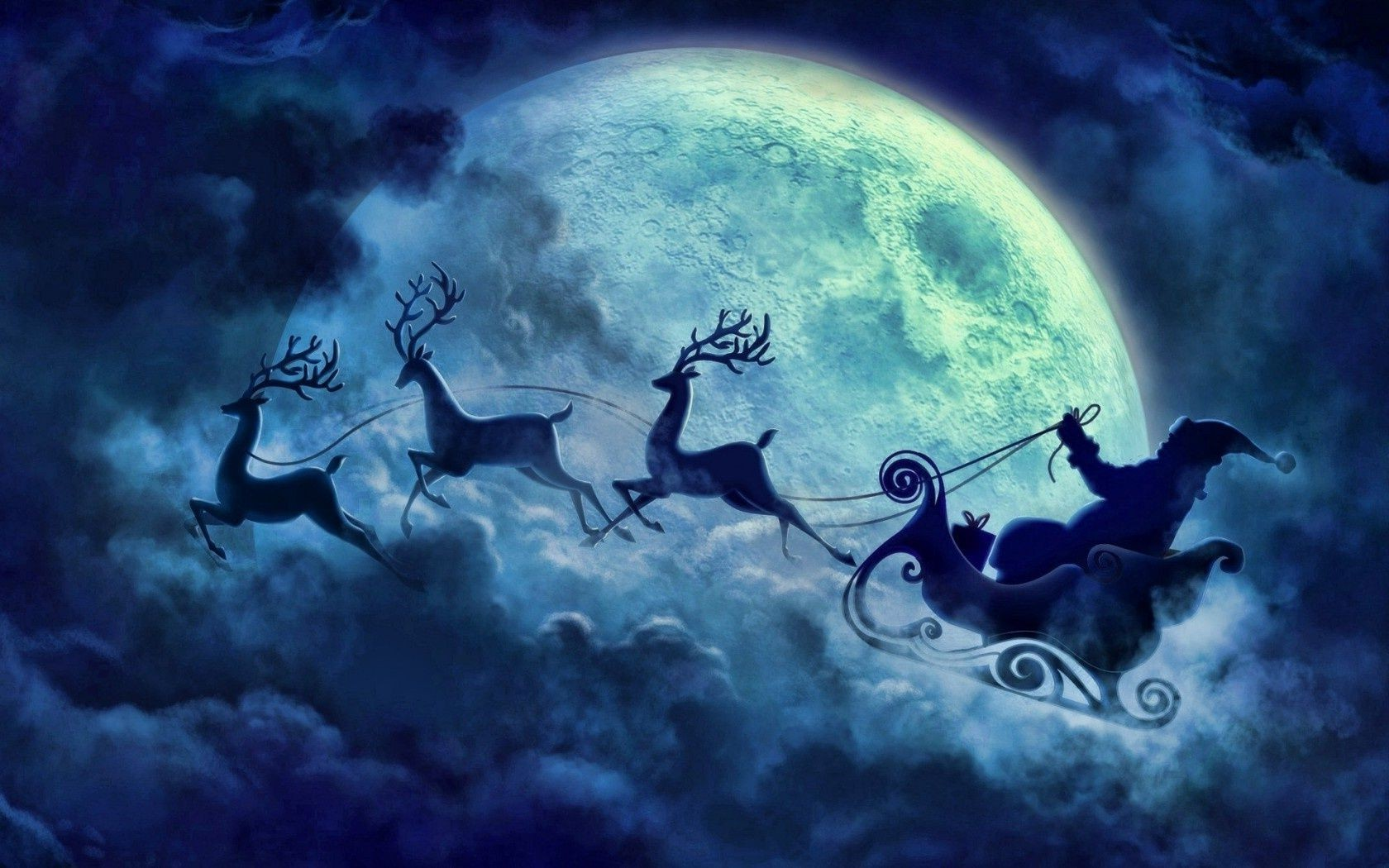 night blue flying reindeer santa cloud moon christmas