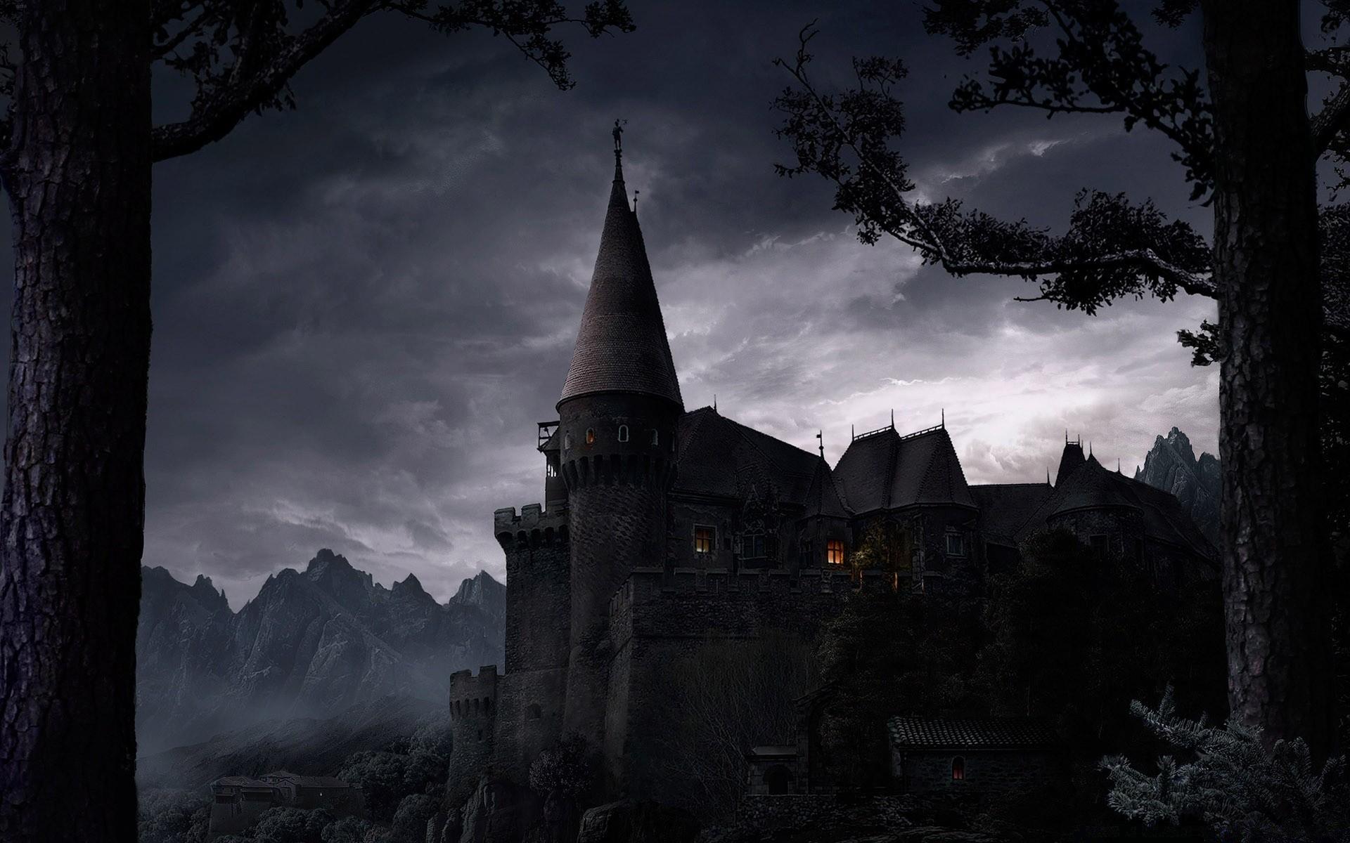 Мрачная картинка с замком