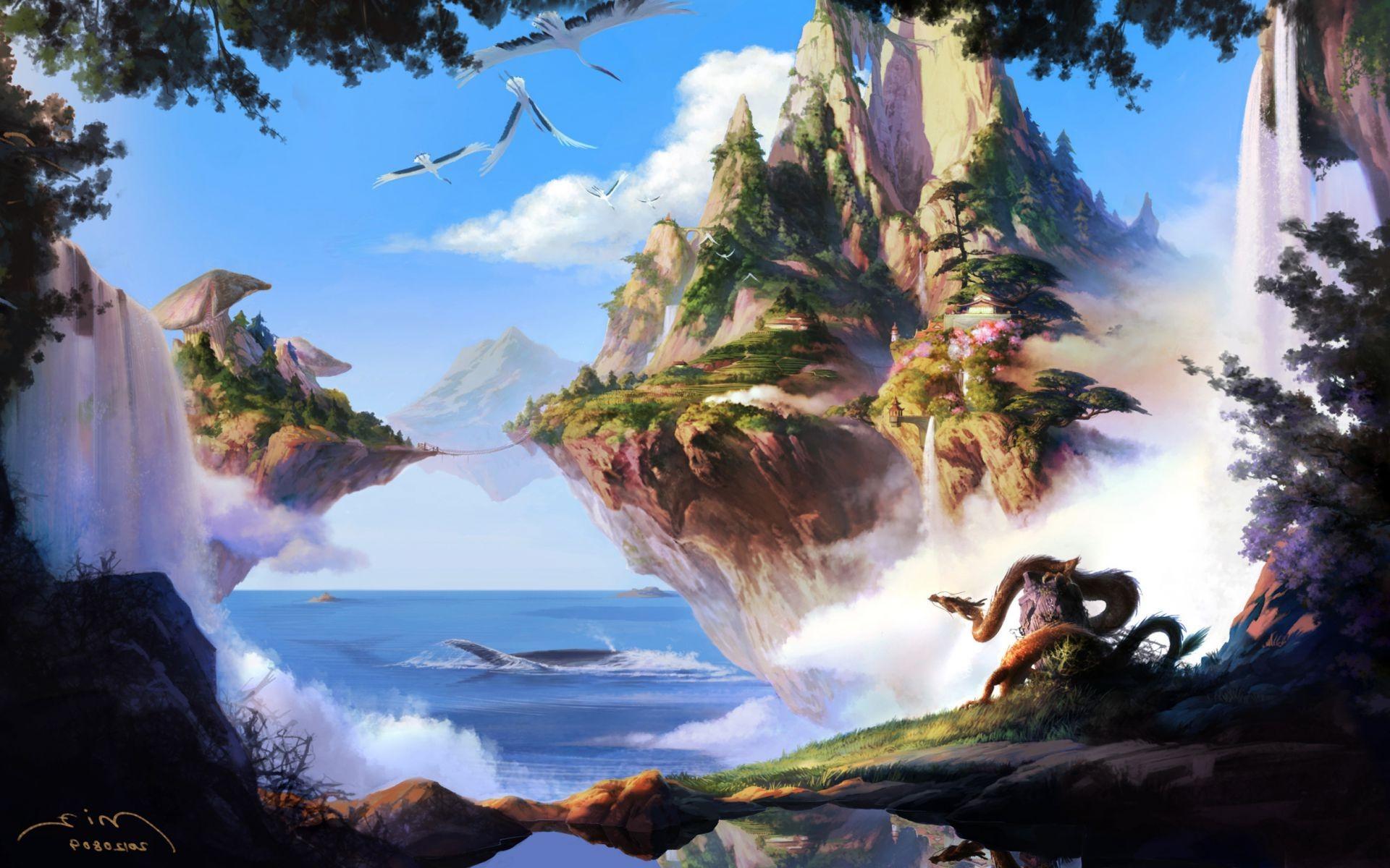картинка с драконом у озера