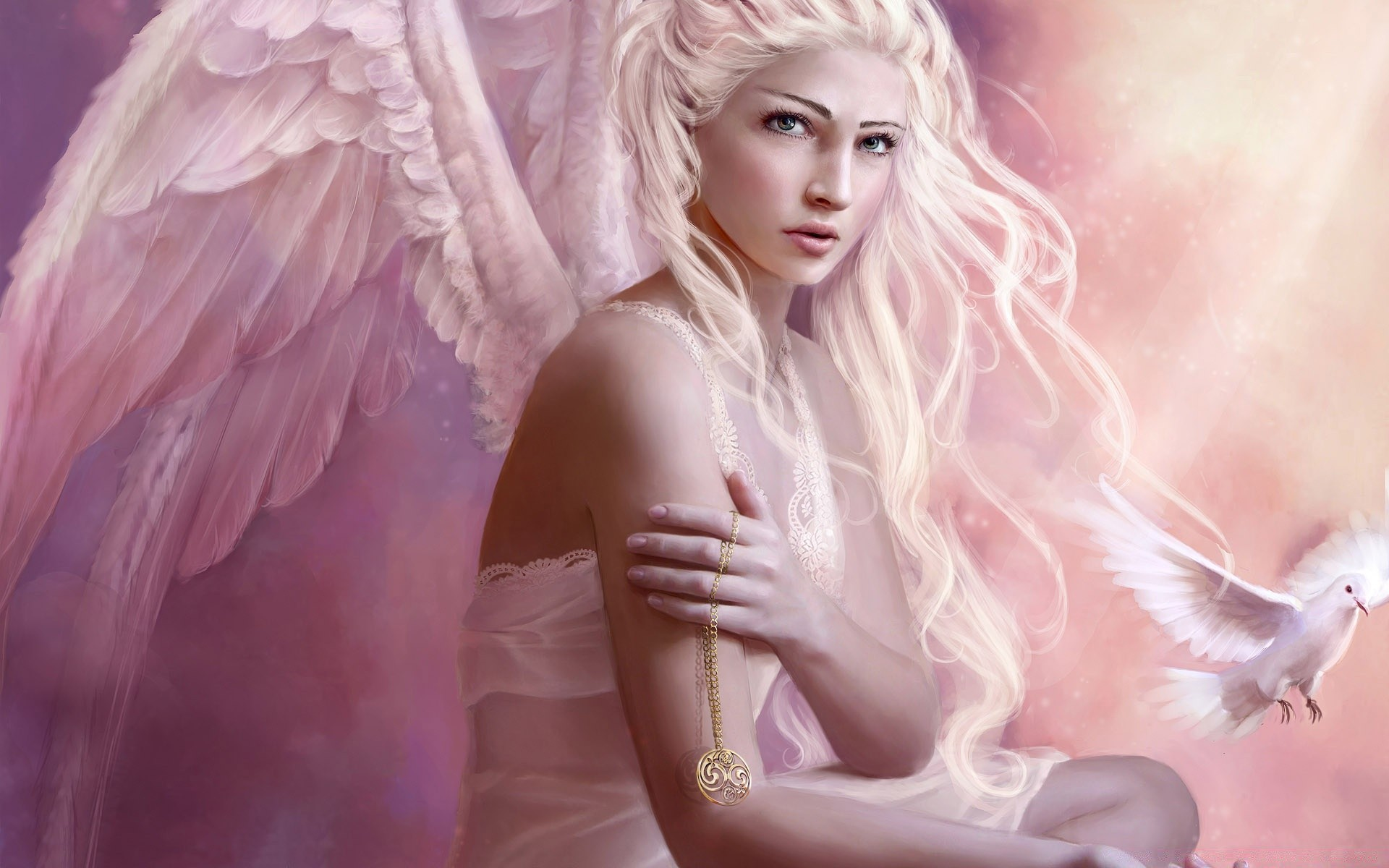 Сексуальный девушка ангел рабочий стол