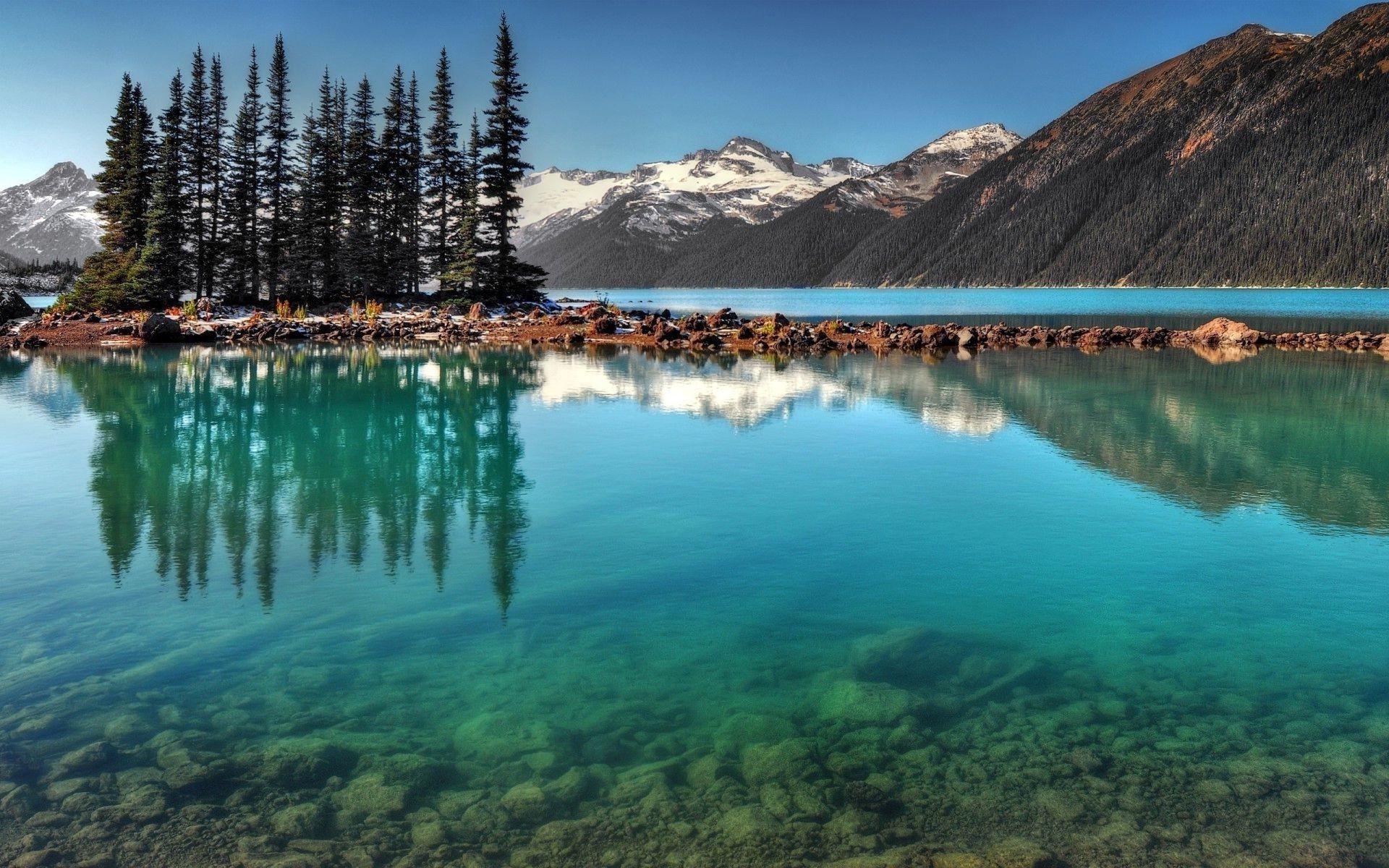Горы канада деревья вода скачать