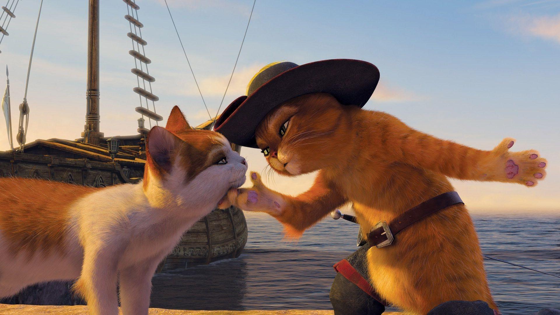 Шрэк с котом в городе бесплатно