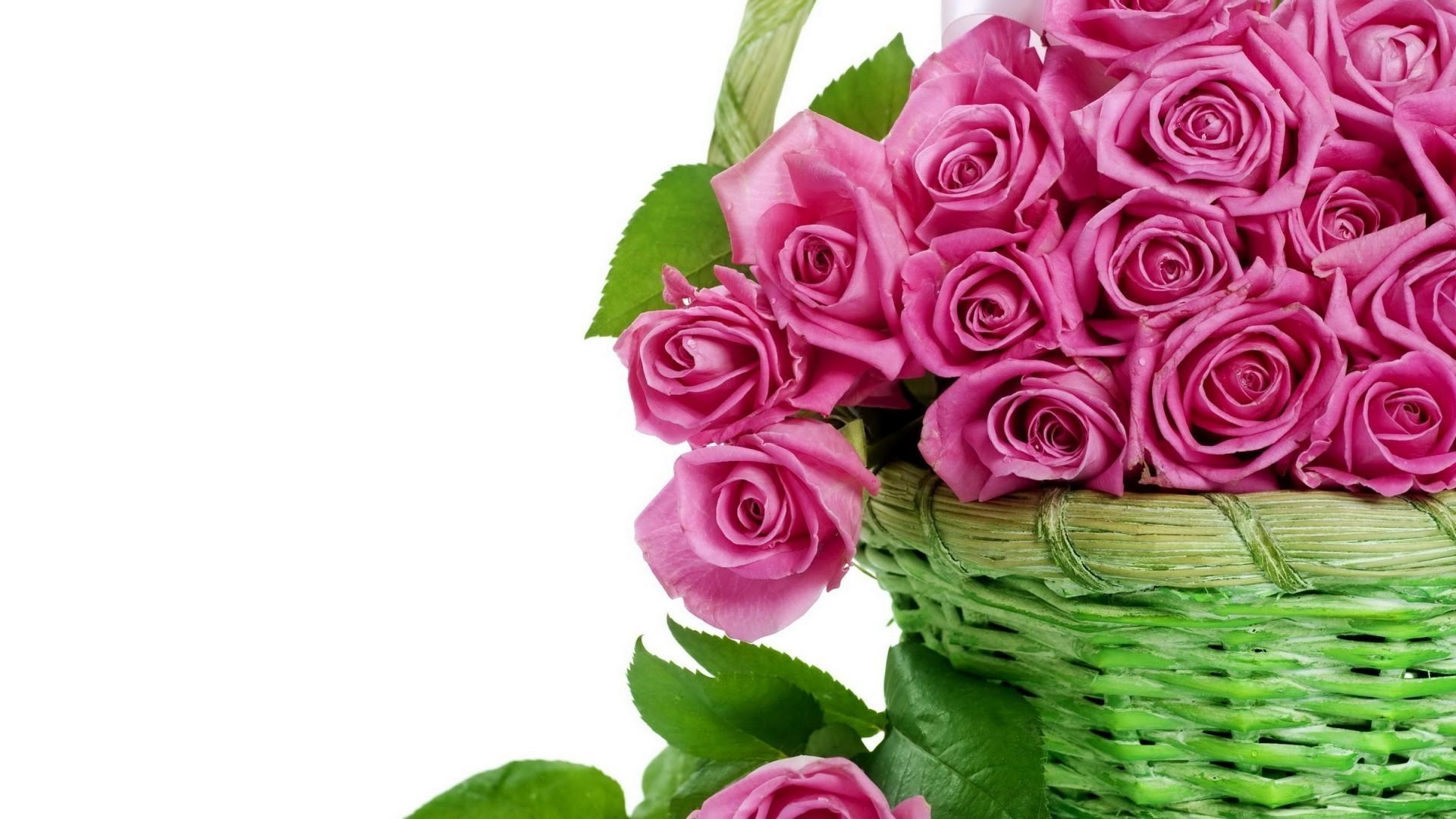 Открытки корзина роз с днем рождения