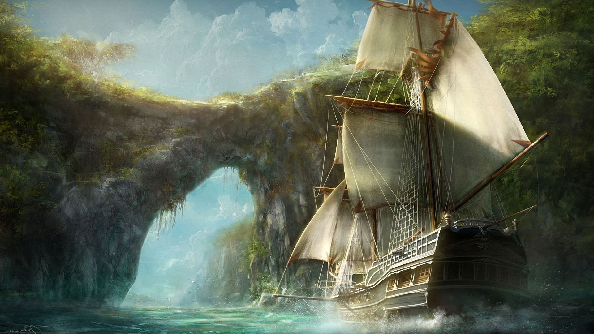 сказочный корабль с парусами онлайн