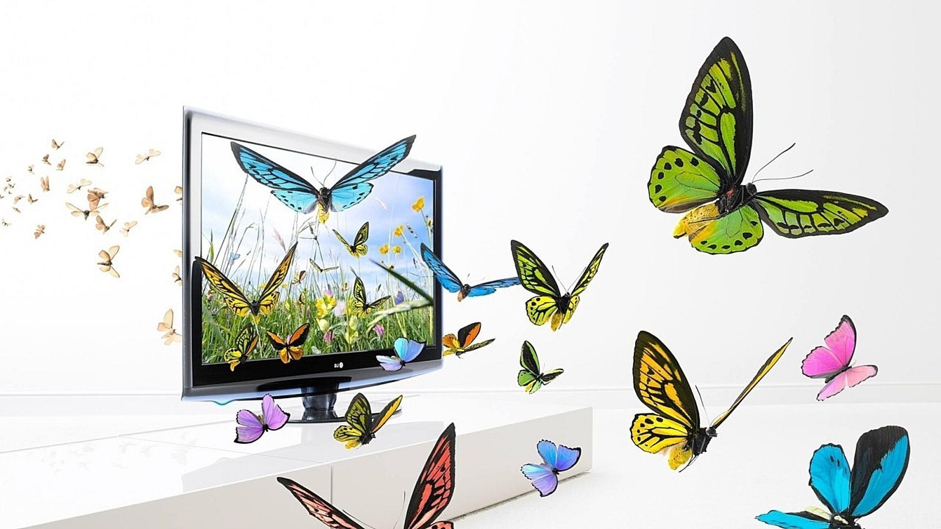 Порхающие бабочки из открытки