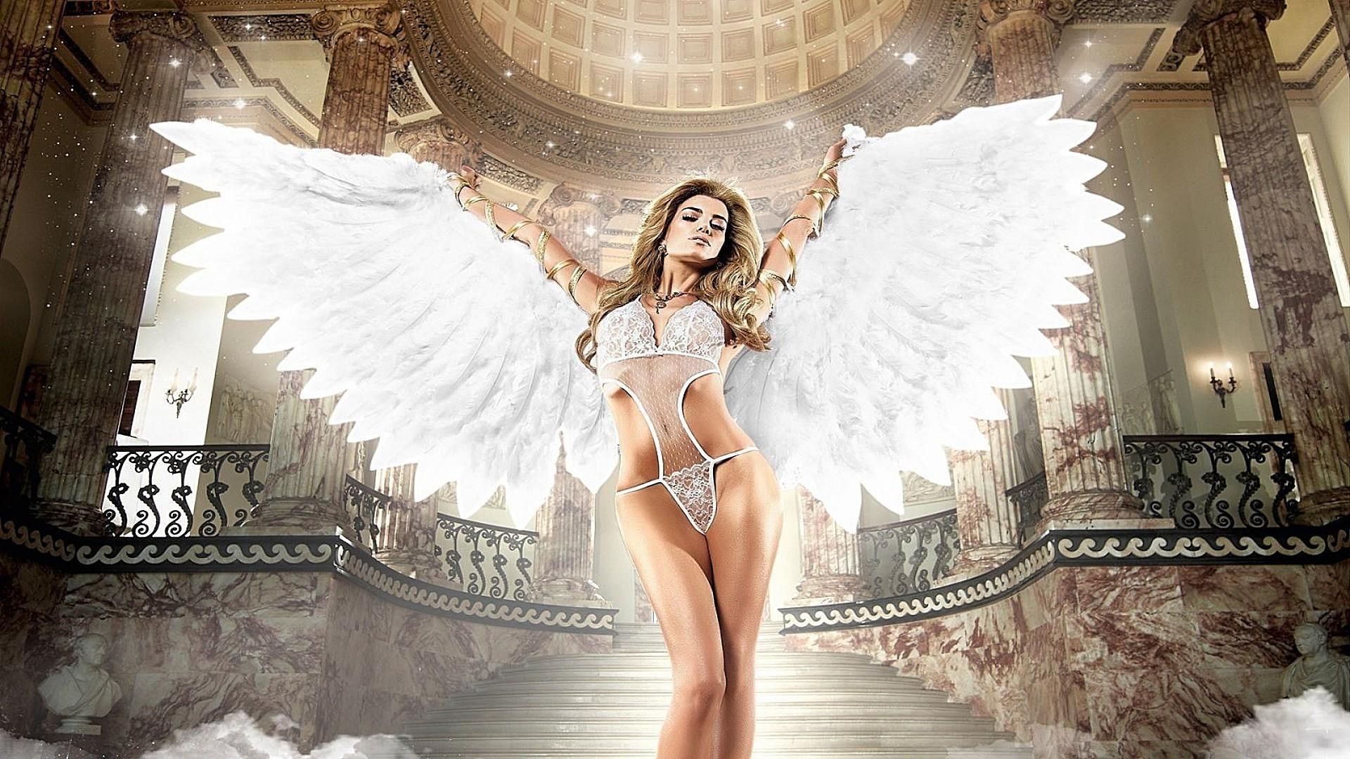 Картинки на телефон девушка ангел, каплей росы