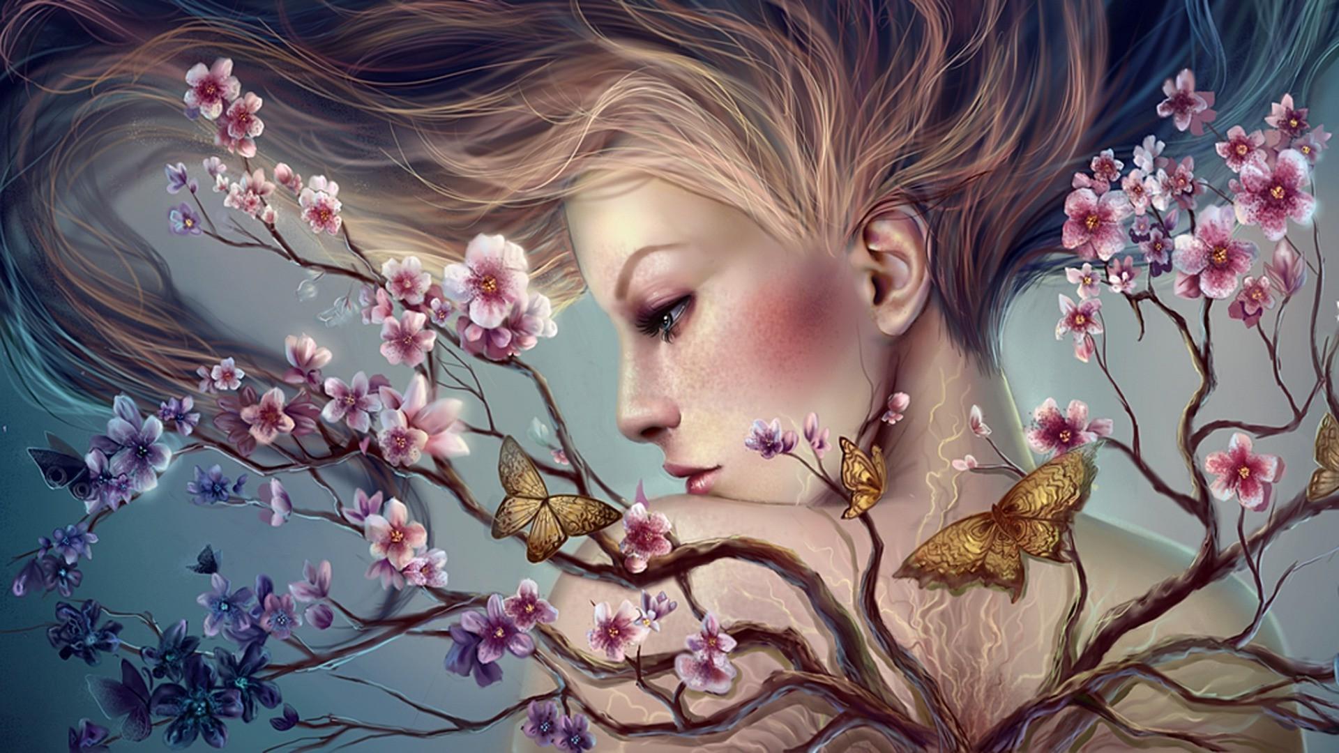Девушка с бабочками бесплатно