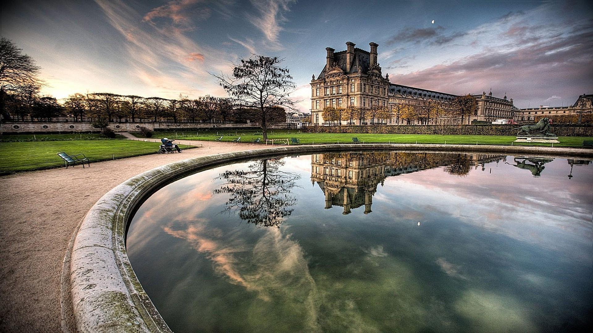 страны архитектура Бордо Франция озеро отражение анонимно