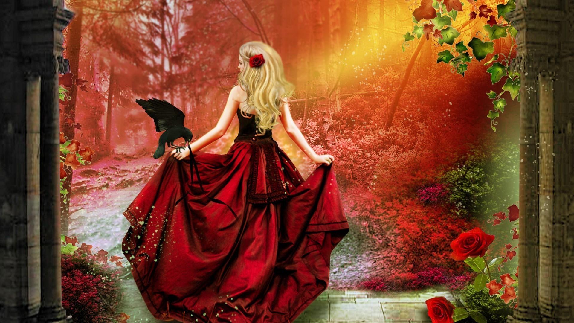 В красном платье с розой в волосах