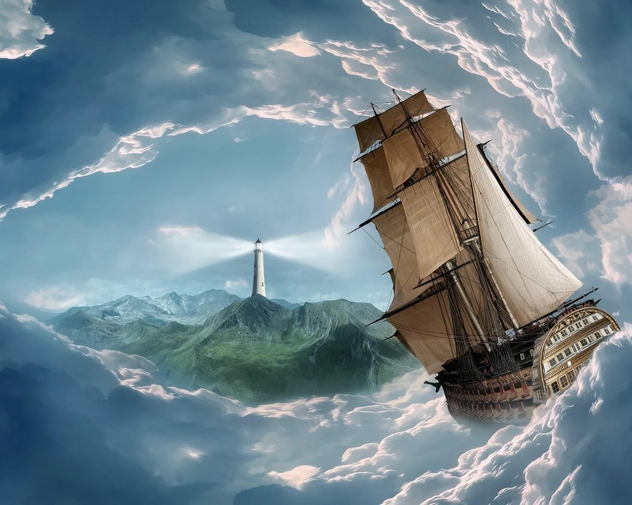 корабль маяк обои на рабочий стол № 499009 загрузить