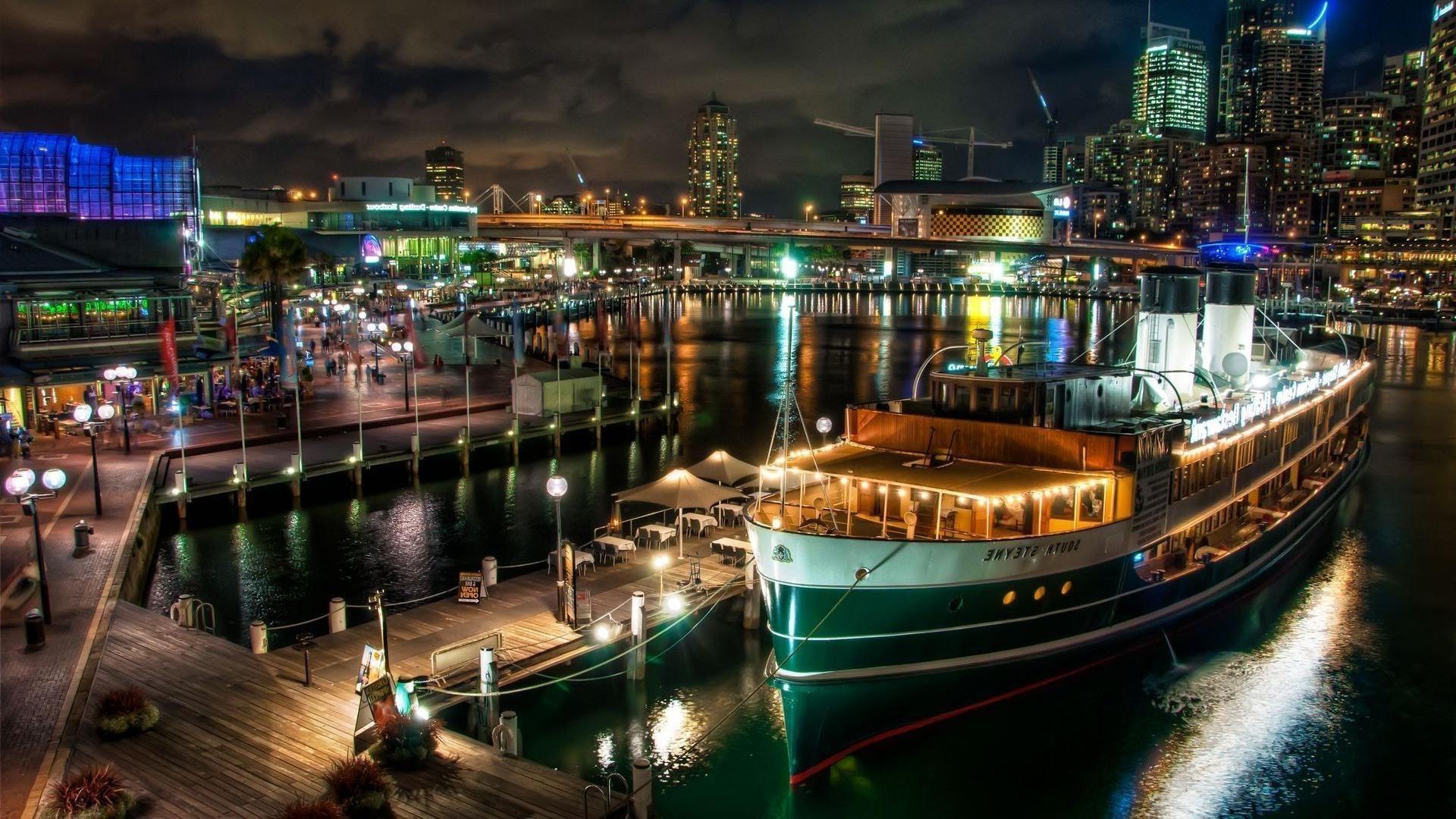 фотографии на рабочий стол яхты ночной порт понимает, что