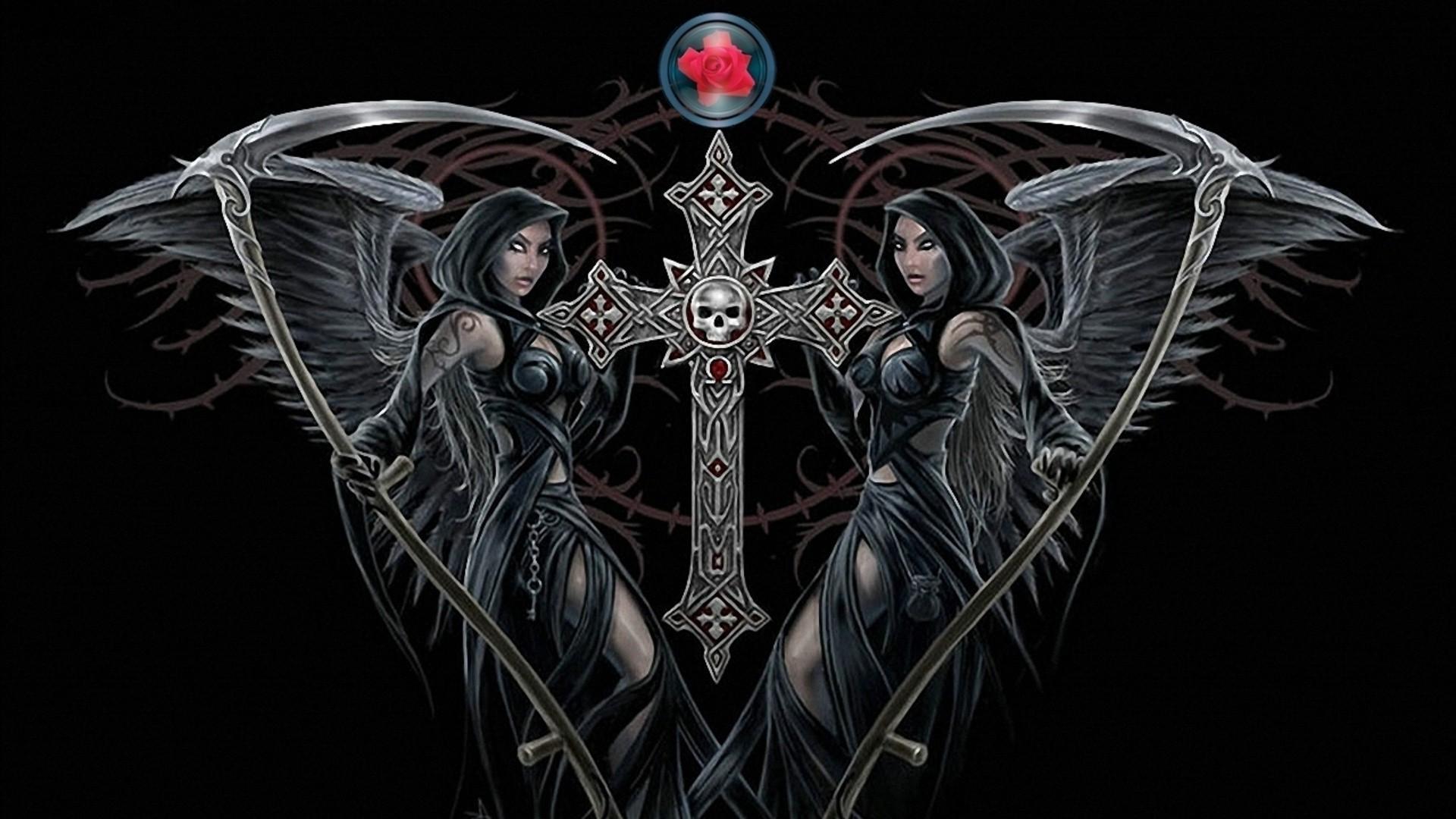Обои на рабочий стол черный ангел