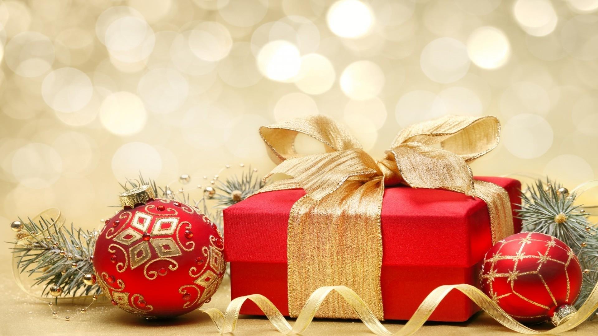 Обои подарок, Коробка, рождество, ёлочные украшения, золотые, шарики. Новый год foto 13