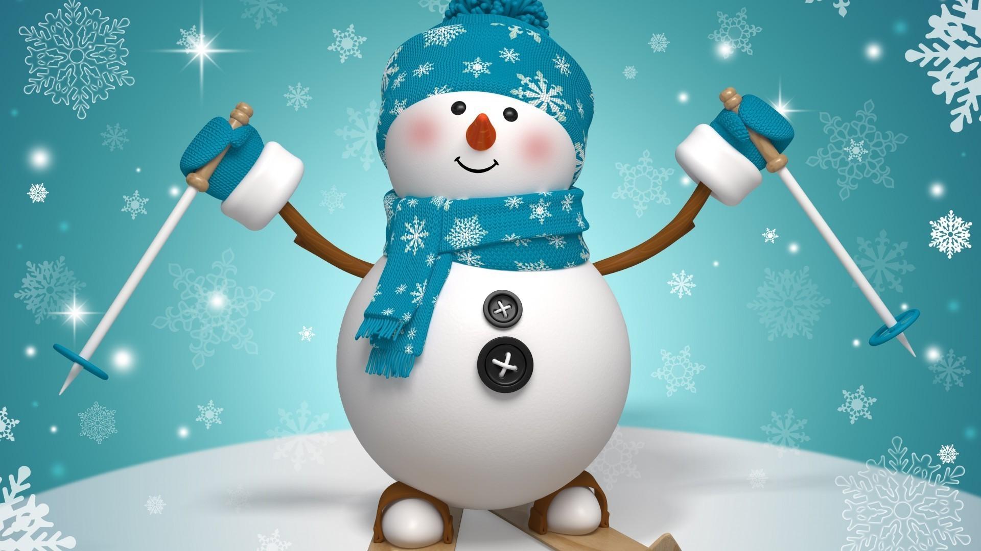 Новогодние обои снеговик на рабочий стол