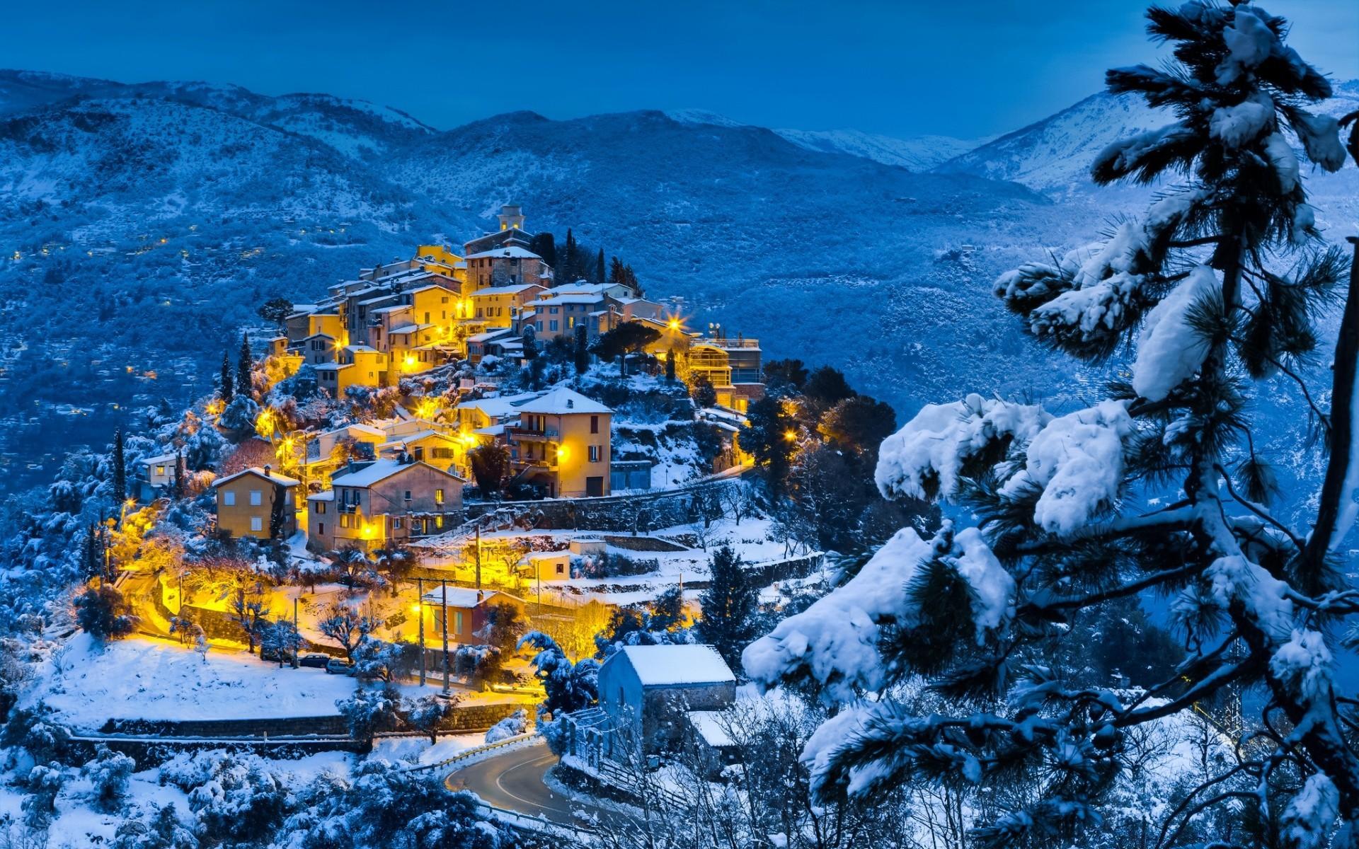 деревня зима горы  № 3188472  скачать