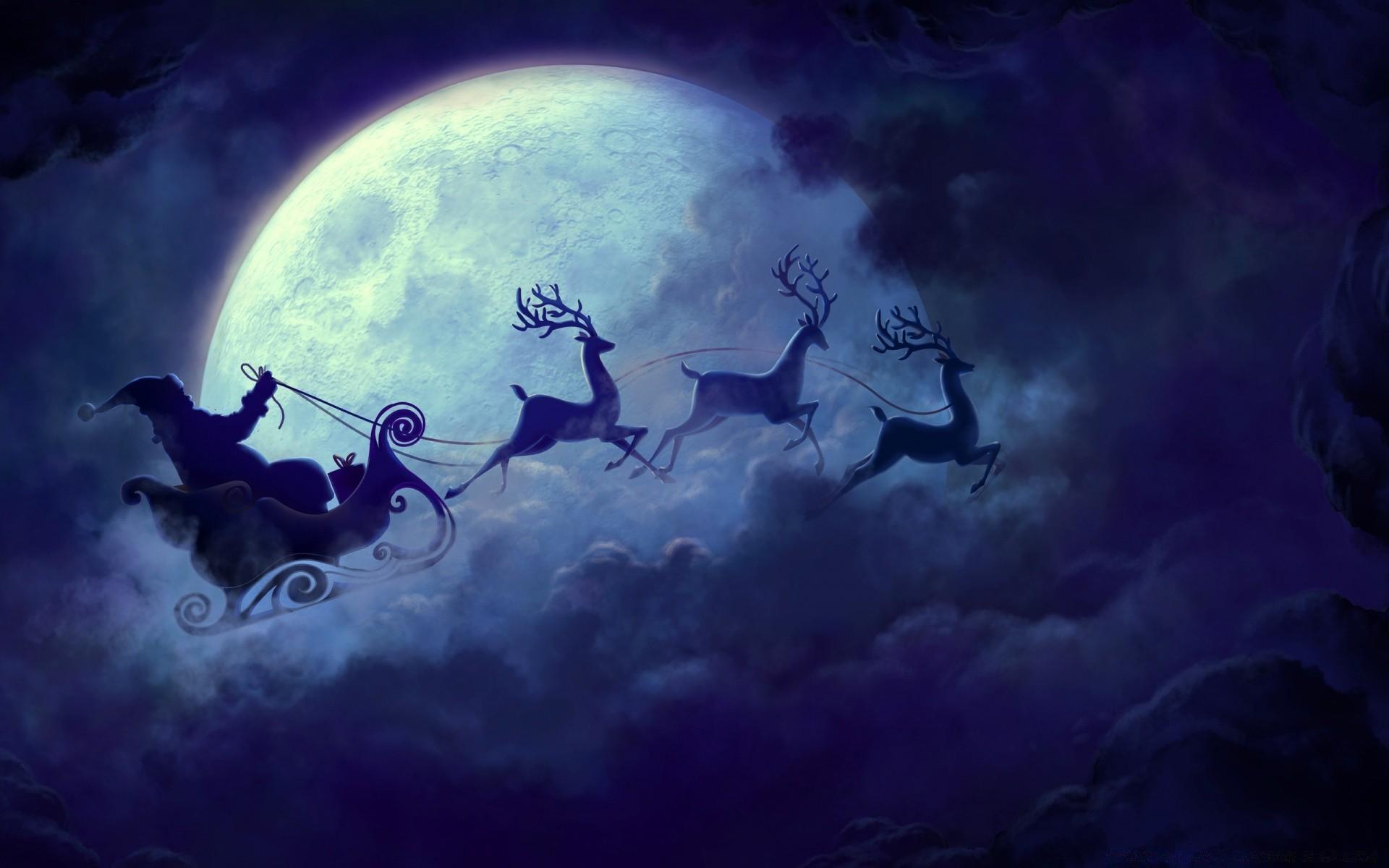 Санта клаус на санях в небе рисунок
