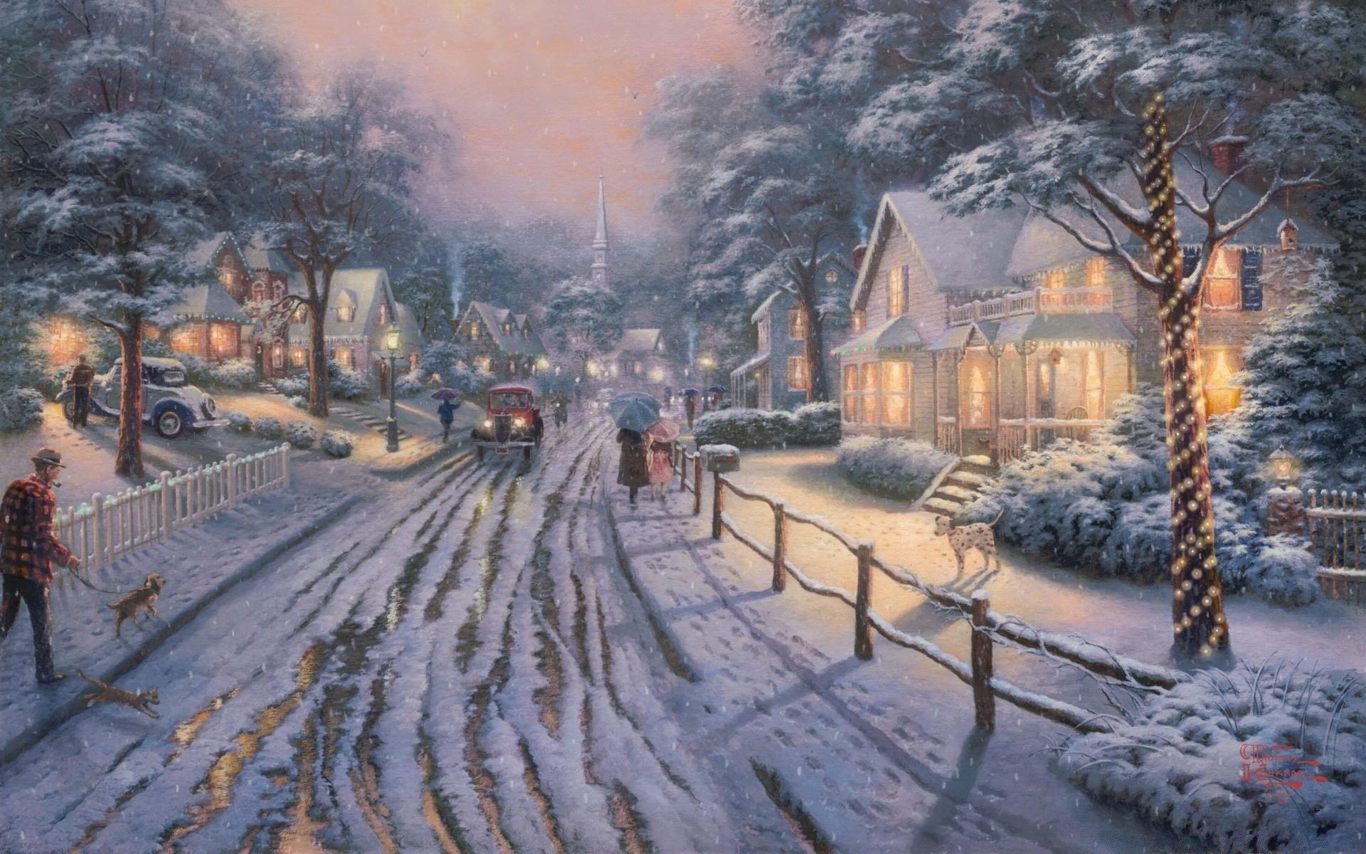 Новогодние домики томас кинкейд картинки, картинки шпагат