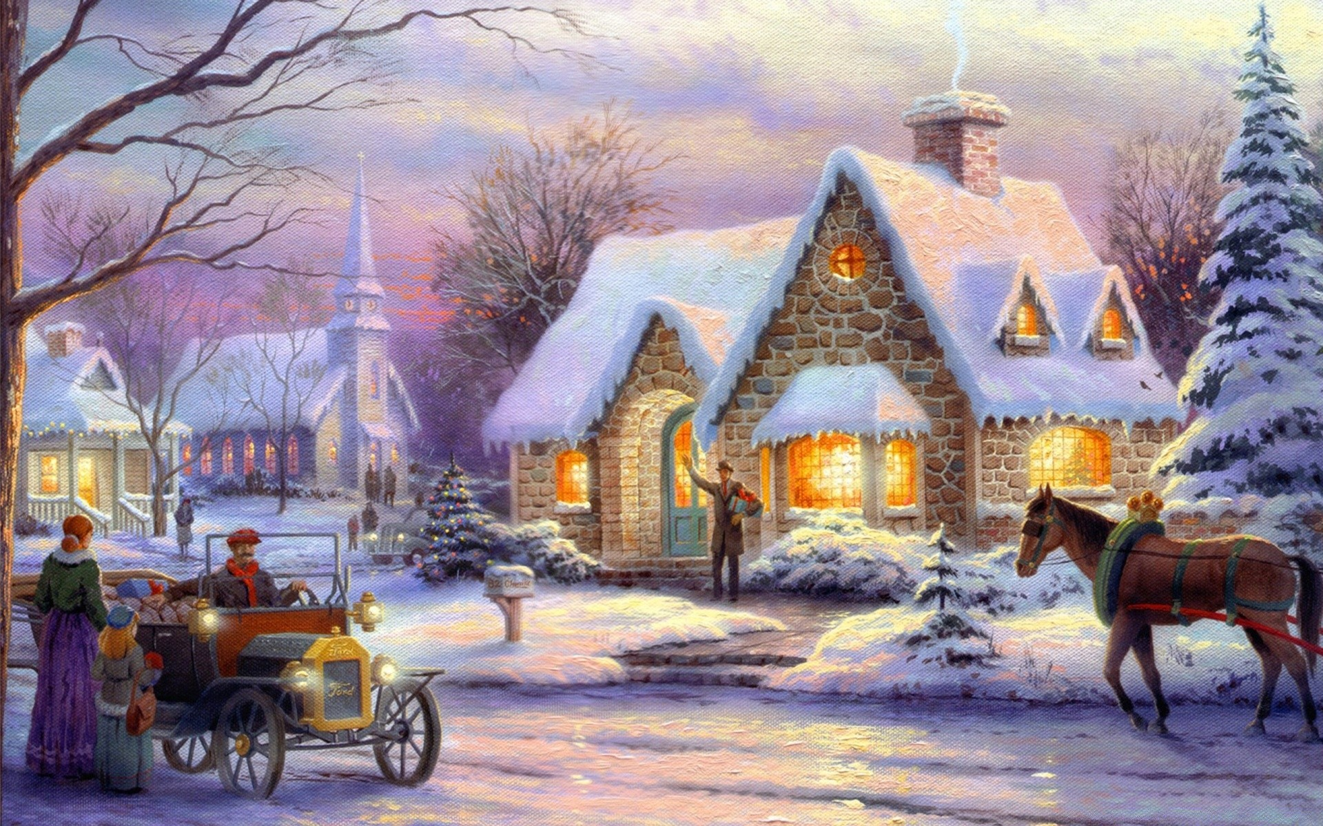 Спокойной ночи, картинки с новым годом сказочные на рабочий стол