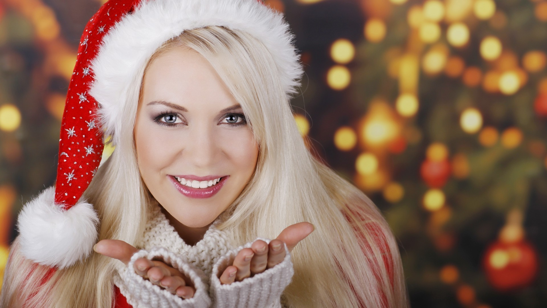 Девушка взгляд зима шапка дерево смотреть