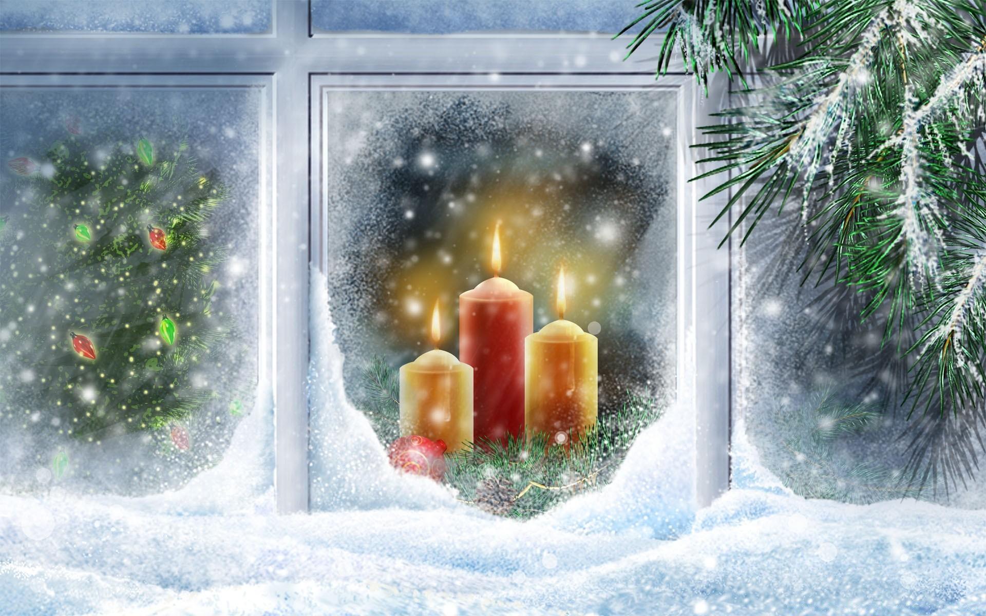 Рождество свечи открытки