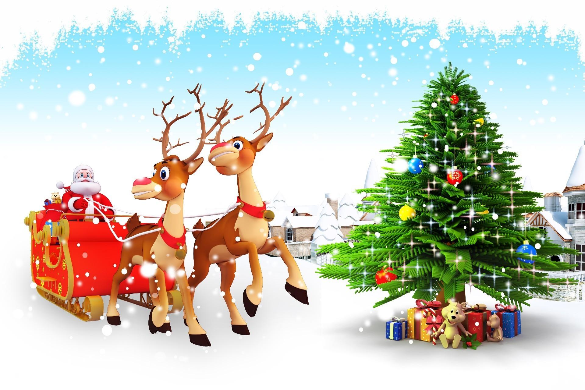 Новогодние картинки с дед морозом и елкой, картинки черно