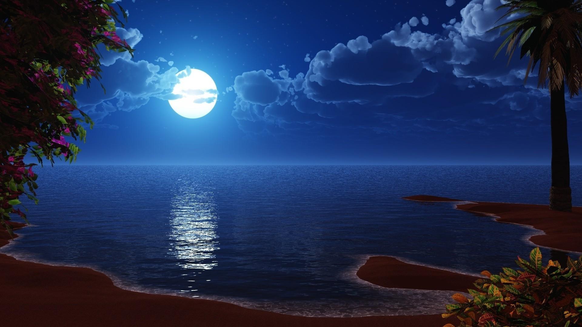 Полная луна над водой смотреть