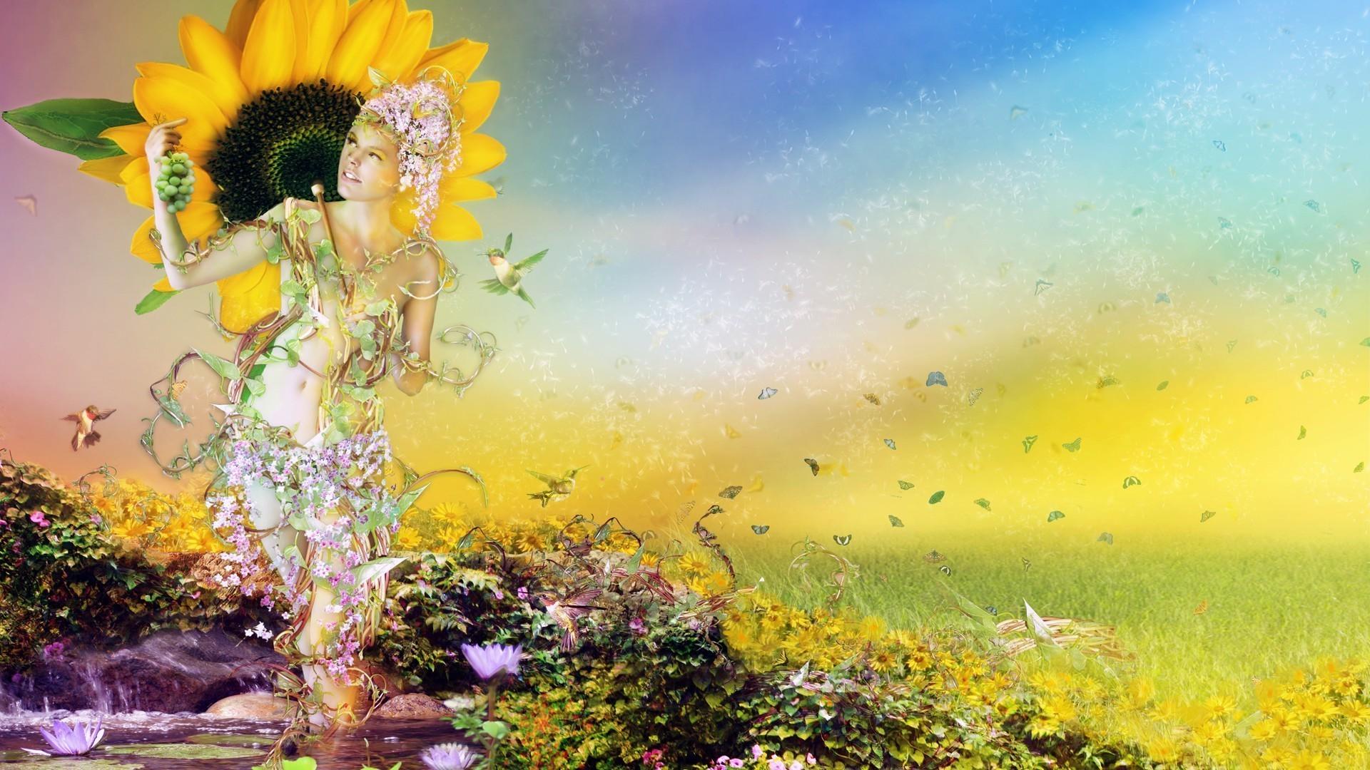Три, открытки с красивой природой и женщиной