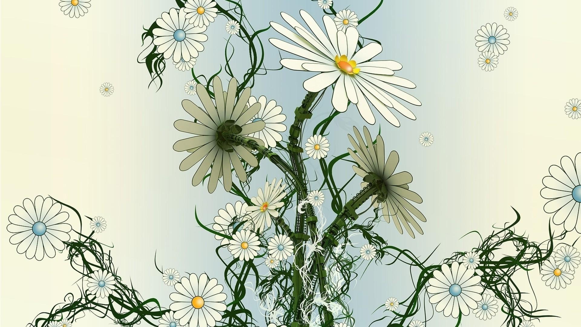 Картинки композиции цветов ромашки нарисованные, для подружки невесты