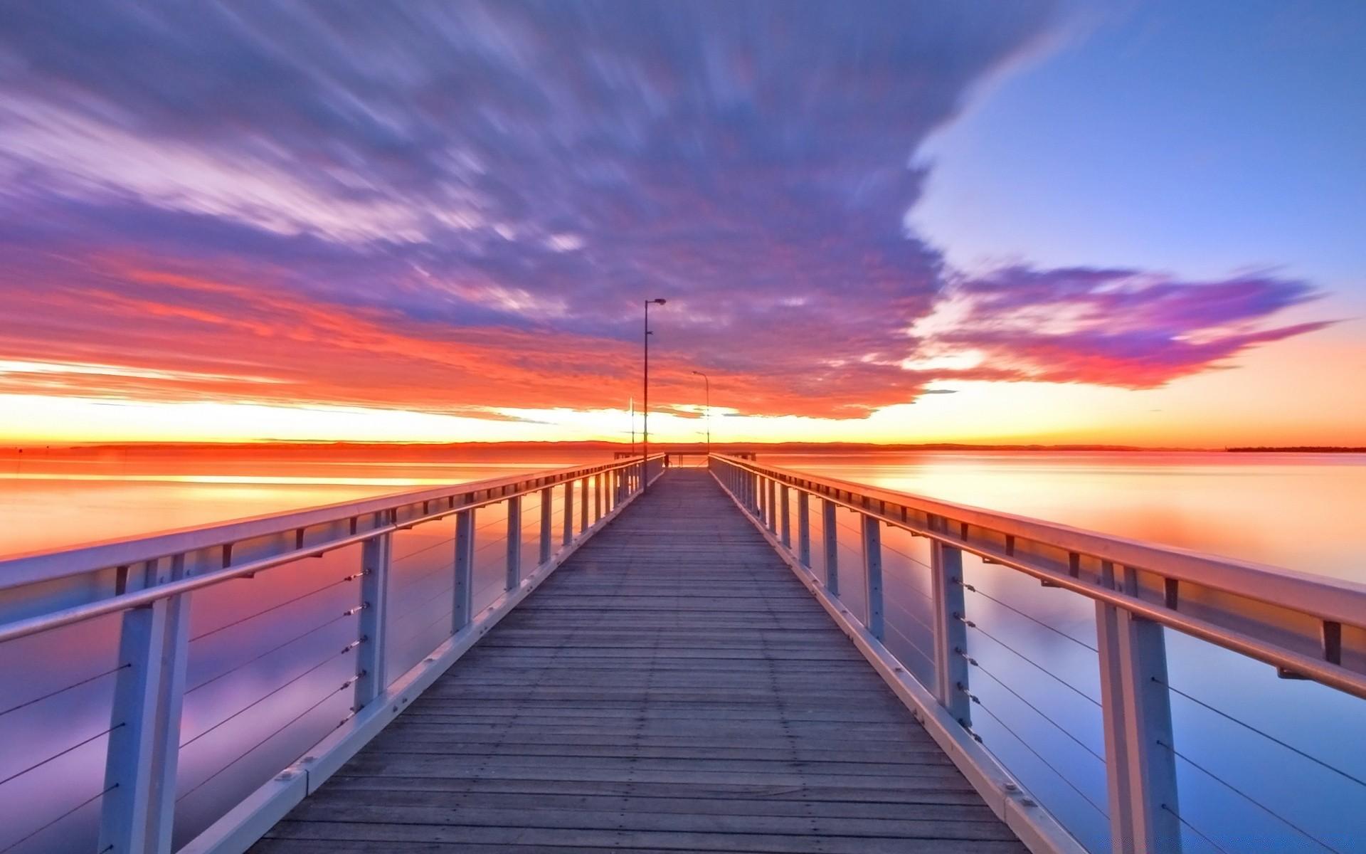 мост фонари море небо  № 3388153  скачать