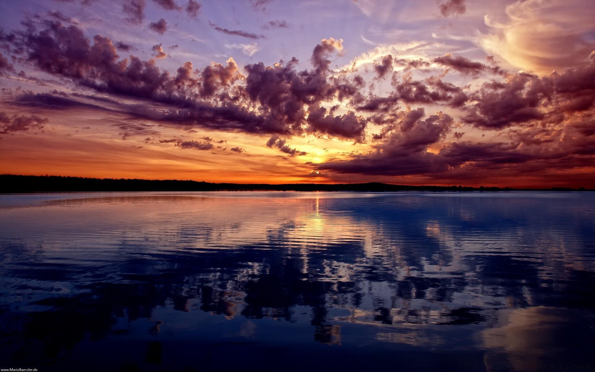 природа озеро отражение небо облака  № 1248431 без смс