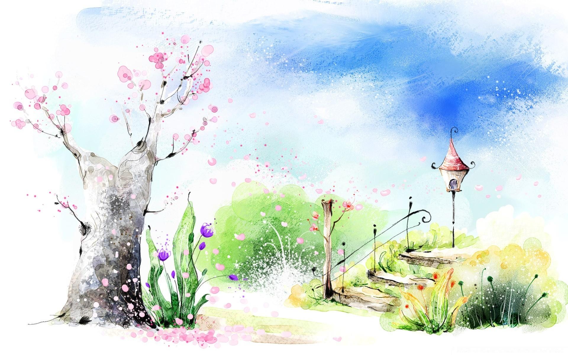 Весна рисованные картинки на рабочий стол