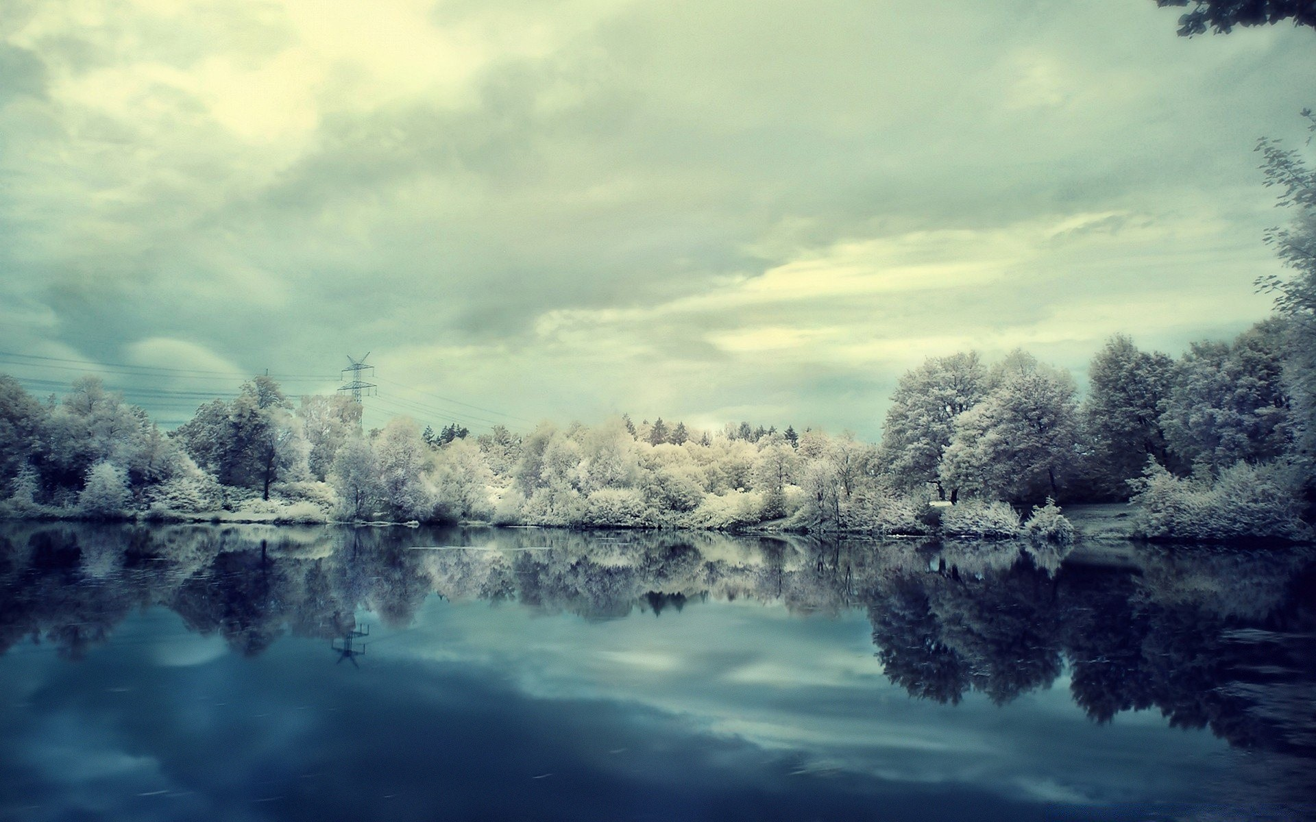 природа озеро отражение лес деревья снег зима загрузить