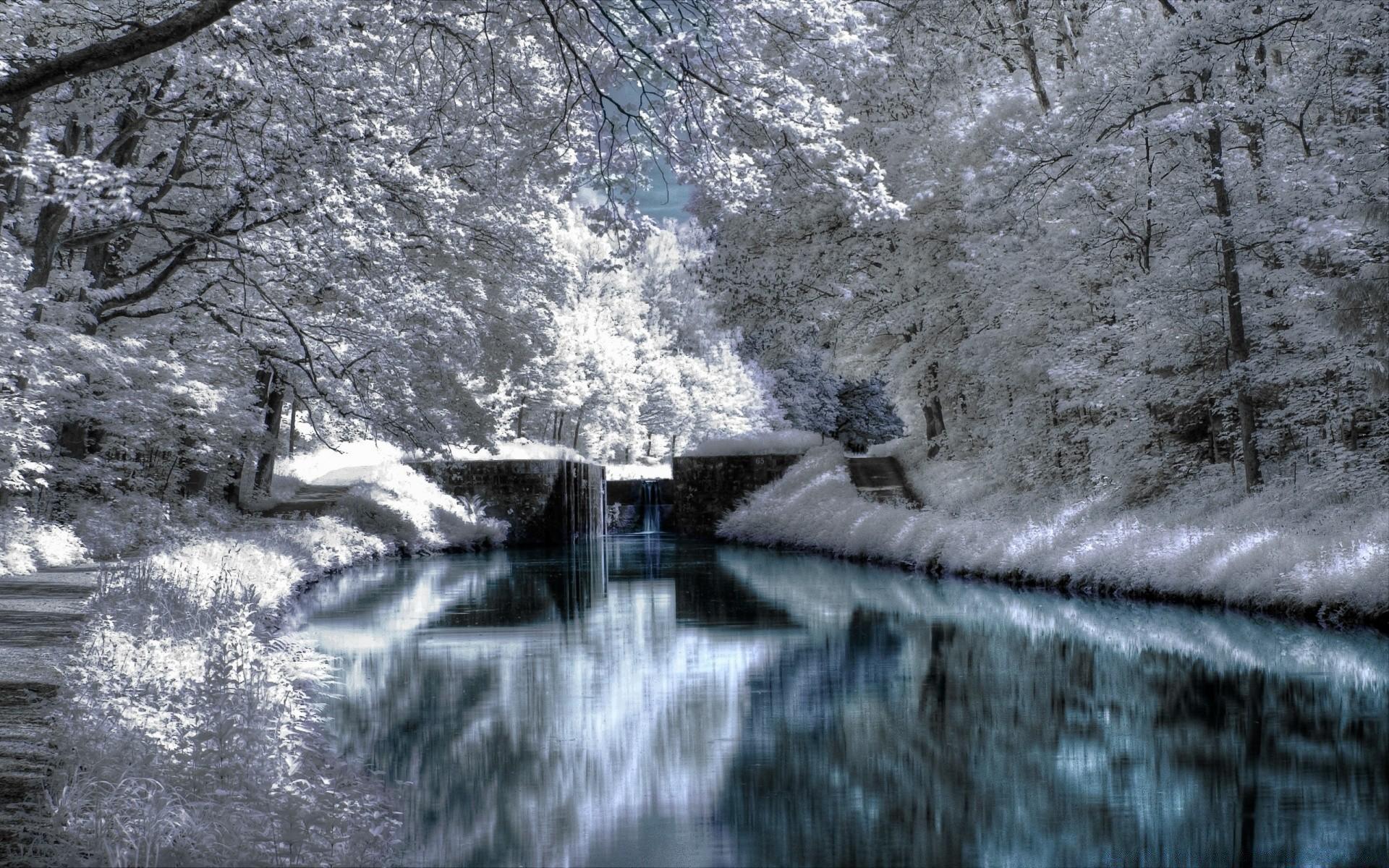 водопад снег лес waterfall snow forest бесплатно