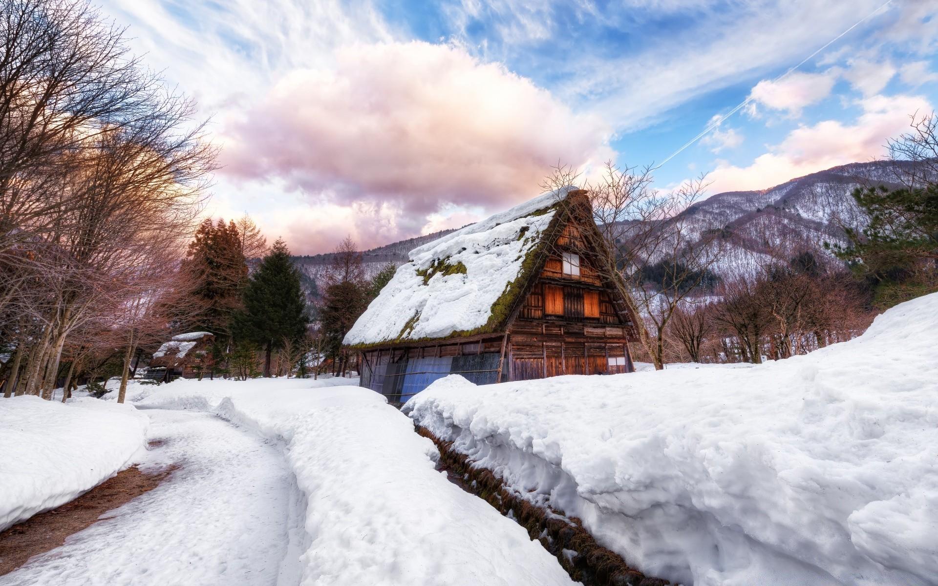 обои на рабочий стол русская зима в деревне дома его была