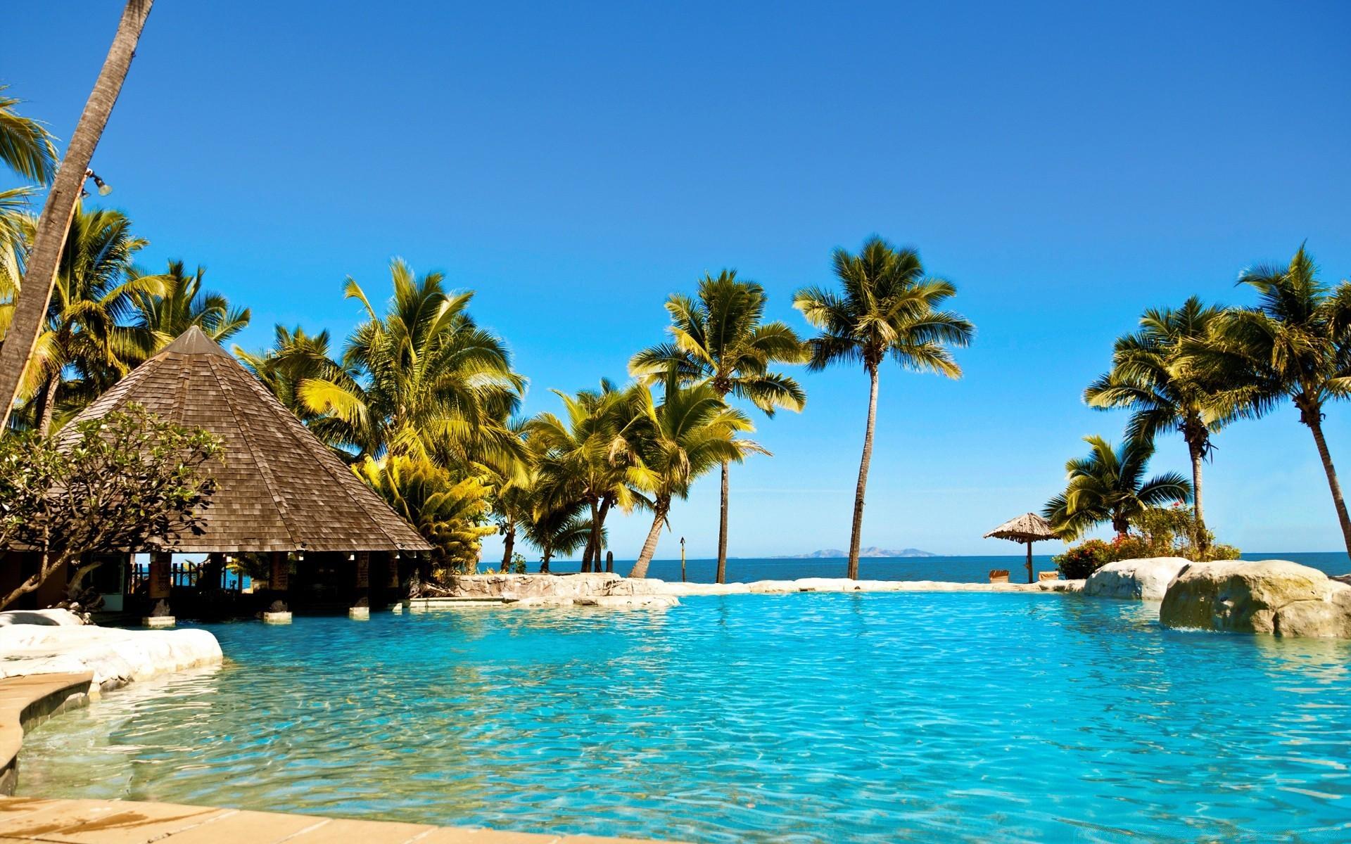 Экзотика фото обои для рабочего стола пальмы море острова