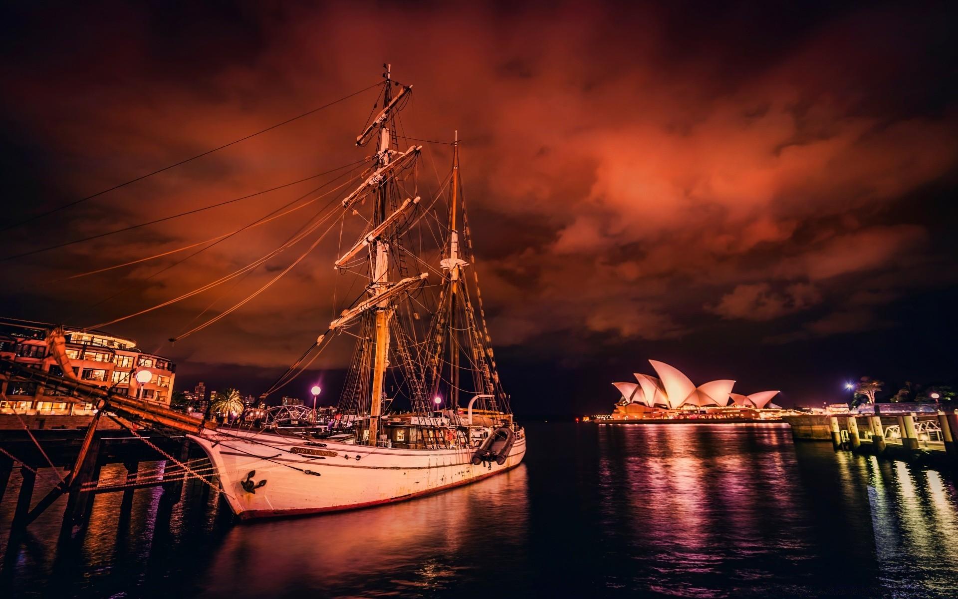 фотографии на рабочий стол яхты ночной порт компании